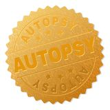 Golden AUTOPSY Medal Stamp. AUTOPSY gold stamp seal. Vector gold award with AUTOPSY text. Text labels are placed between parallel lines and on circle. Golden stock illustration