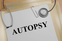 Autopsy - medical concept. 3D illustration of AUTOPSY title on a medical document vector illustration