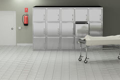 Autopsy room. 3d rendering of a macabre autopsy room royalty free illustration