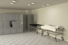 Autopsy room. 3d rendering of a macabre autopsy room stock illustration