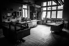 An autopsy room interior. Low light royalty free stock images