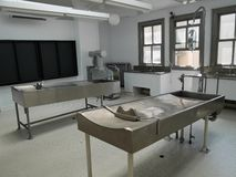 Autopsy room. And tables used for forensic investigation royalty free stock photo
