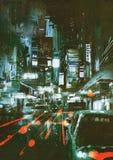 Autorücklichter auf einer Stadtstraße nachts Stockbild