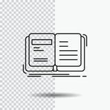 Autor, książka, otwarta, opowieść, relacji Kreskowa ikona na Przejrzystym tle Czarna ikona wektoru ilustracja royalty ilustracja