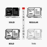 Autor, książka, otwarty, opowieść, relacji ikona w linii i glifie Cienkiej, Miarowej, Śmiałej, Projektujemy r?wnie? zwr?ci? corel royalty ilustracja