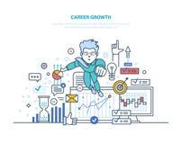 autora kariery wzrostowy ilustraci s wektor Osiągnięcie wysocy cele, sukces w biznesie i przyrost, royalty ilustracja