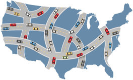 Autoreise USA-Landstraßentransportkarte Stockbilder