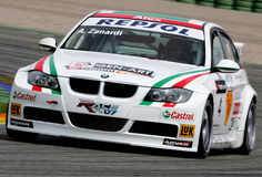 Autorennen (BMW 320si, de FIA WTCC) Stock Afbeelding