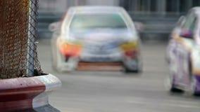 Autorennen in kring, stock videobeelden