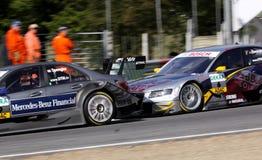 Autorennen (mercedesC-Klasse, Audi A4 DTM, DTMrace) Stock Afbeelding