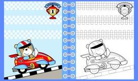 Autorennenbeeldverhaal met grappige raceauto, kleurende boek/pagina stock illustratie