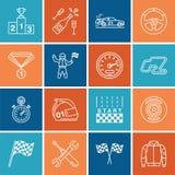 Autorennenvektorlinie Ikonen Beschleunigen Sie Selbstmeisterschaftsbahn, Automobil, Rennläufer, Sturzhelm, Kontrolleurflaggen, Le Lizenzfreie Stockfotografie