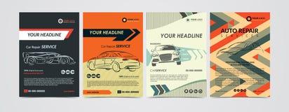 Autoreparatur-Service-Geschäftsplanschablonen stellten, Autos für Verkauf u. Mietbroschüre, Modellflieger ein vektor abbildung