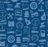 Autoreparatur und Wartung, nahtloses Muster, Blau, gefärbt, ausbrütender Bleistift, Vektor Stockfotografie