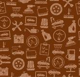 Autoreparatur und Wartung, nahtloses Muster, Braun, gefärbt, ausbrütender Bleistift, Vektor Stockbild