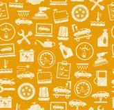 Autoreparatur und Wartung, nahtloses Muster, dunkles Gelb, ausbrütender Bleistift, Vektor Stockbilder