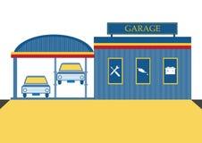 Autoreparaturgarage und Selbst-Service-Center, Vektorillustrationen Lizenzfreie Stockbilder