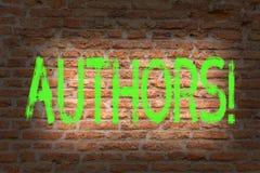 Autori del testo di scrittura di parola Concetto di affari per il compositore Creator Brick Wall di Poet Biographer Playwright de fotografia stock libera da diritti