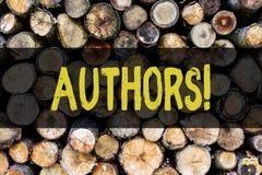 Autori del testo di scrittura di parola Concetto di affari per il compositore Creator Wooden di Poet Biographer Playwright del gi fotografia stock