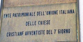 Autoridade italiana da propriedade das igrejas adventistas de Sétimo-dia fotos de stock royalty free