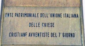 Autoridade italiana da propriedade das igrejas adventistas de Sétimo-dia imagens de stock