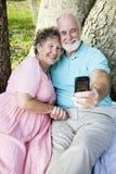 Autoritratto del email degli anziani Fotografie Stock Libere da Diritti