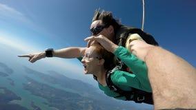 Autoritratto del tandem di immersione subacquea di cielo immagine stock libera da diritti