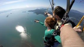 Autoritratto del tandem di immersione subacquea di cielo fotografie stock libere da diritti