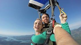 Autoritratto del tandem di immersione subacquea di cielo immagini stock libere da diritti