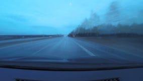 Autoritten, dag en nacht Reis door auto 200 kilometers, tijdoverlappingen 200 km stock videobeelden
