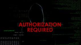 A autorização exigiu a tentativa de corte mal sucedida na caixa do e-mail, anônima imagens de stock royalty free