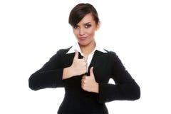 Autorización biznesswoman sonriente de la demostración Imagen de archivo libre de regalías