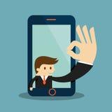 Autorización de la demostración del hombre de negocios en una pantalla del teléfono móvil Fotografía de archivo
