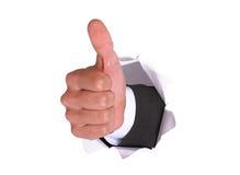 AUTORIZACIÓN de la mano del hombre de negocios en el whi Imagen de archivo libre de regalías