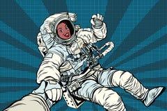 AUTORIZACIÓN del gesto de African American del astronauta de la mujer Fotos de archivo libres de regalías