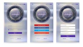 Autorización o registro, interfaz de la cuenta para los apps del móvil de la pantalla táctil Entrada vía inicio de sesión, contra Imágenes de archivo libres de regalías