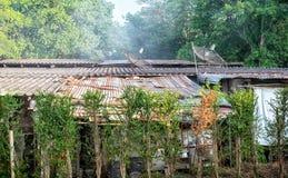 AUTORIZACIÓN, TAILANDIA - 5 DE MAYO: El humo filtra a través el tejado de los residentials del sueldo bajo en Petchkasem 69 en Ba imagenes de archivo