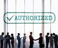 Autorizado apruebe el concepto del gráfico de la sanción del permiso imagenes de archivo