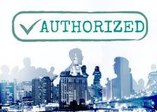 Autorizado apruebe el concepto del gráfico de la sanción del permiso imágenes de archivo libres de regalías