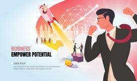 Autorizzi il potenziale al gruppo d'aiuto ver2 di affari di successo illustrazione di stock