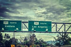 Autoroute du connexion 101 de sortie de Los Angeles Photos stock