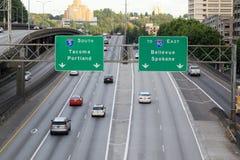 Autoroute I5 du sud à Seattle Images libres de droits
