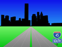 Autoroute menant à Houston illustration de vecteur