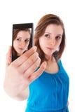 Autorretrato con el teléfono celular Fotos de archivo libres de regalías
