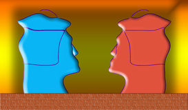 Autorretrato doble del color. Retrato abstracto en un backgr amarillo Imagen de archivo