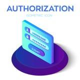 Autoryzaci nazwa użytkownika z hasłem Isometric ikona dojazdowy konto użytkownika Nazwa użytkownika forma tła biel dane dysków ro ilustracji