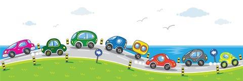 Autos auf der Straße. vektor abbildung