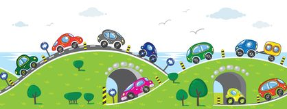 Autos auf der Straße vektor abbildung
