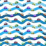 Autos auf nahtlosem Hintergrund der Straßen lizenzfreie abbildung