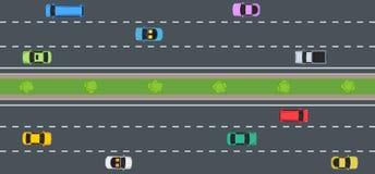 Autos auf Straße, Draufsicht lizenzfreie abbildung